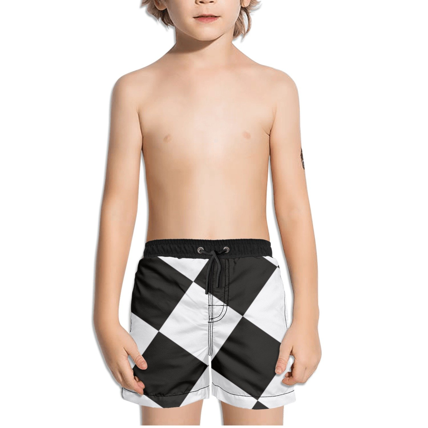 Ouxioaz Boys Swim Trunk Black White Checkered Square Beach Board Shorts