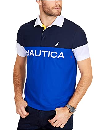 058274a4f66 Nautica Men's Short Sleeve Classic Fit Color Block Polo Shirt, Bright  Cobalt X-Large