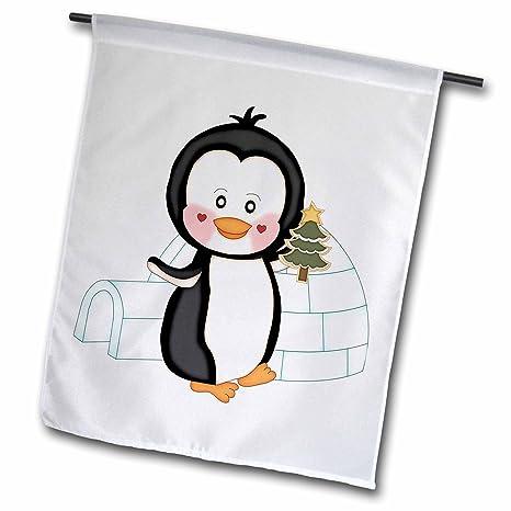 Cute Penguin Black and White Garden Yard Flag