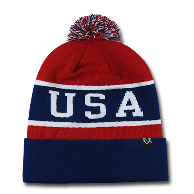 44e063786e83b9 Amazon.com: USA Red White & Blue Knitted Stocking Cap w/ Pom Pom: Clothing
