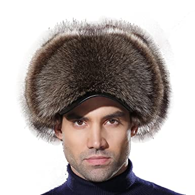 d0eb8a1178f URSFUR Russian Fur Trapper Hat Leather Winter Men American Raccoon Fur  Visors