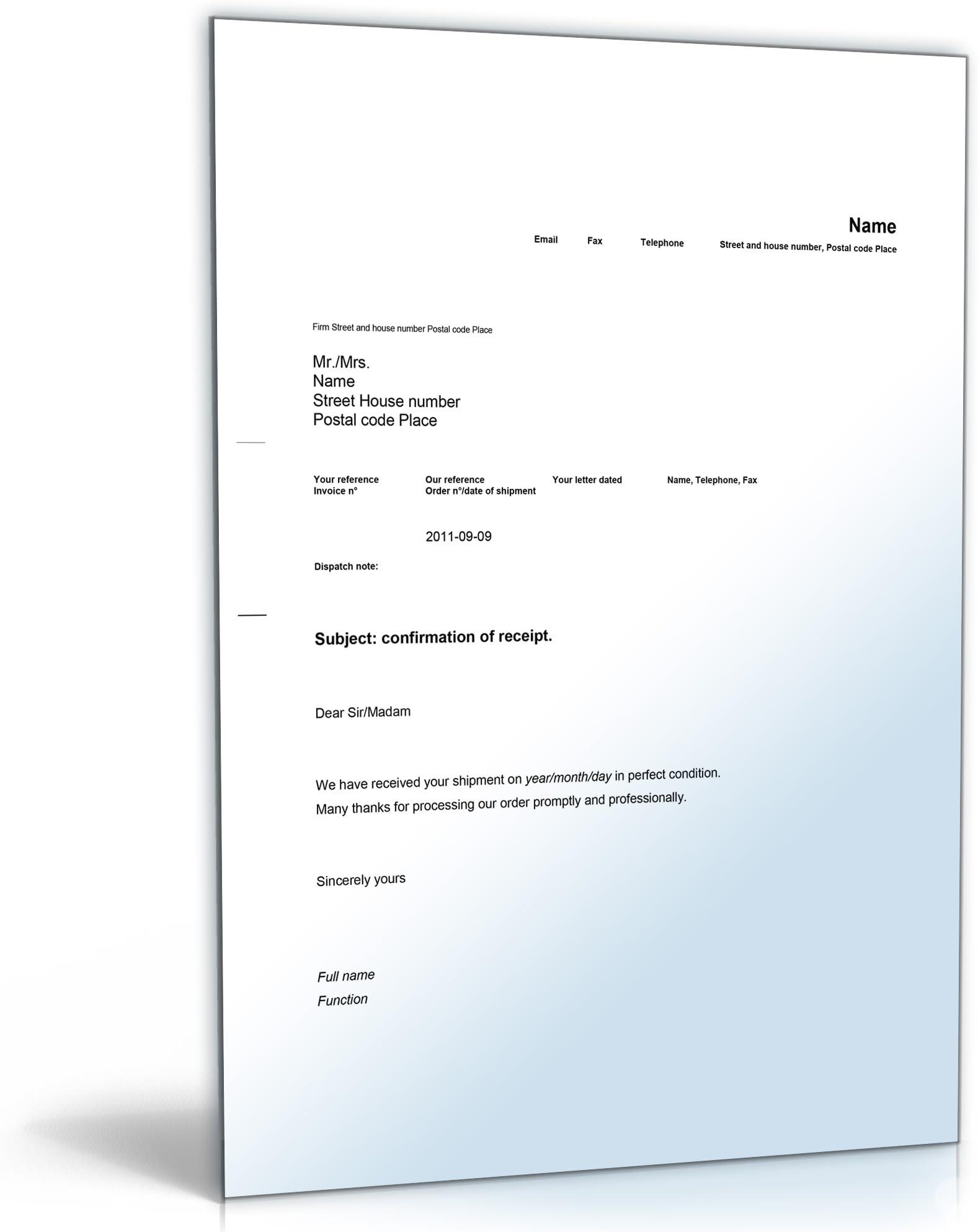 Empfangsbestatigung Muster Vorlage 14 Einzigartig 8
