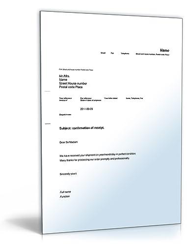 Empfangsbestätigung Auf Englisch Confirmation Of Receipt Word