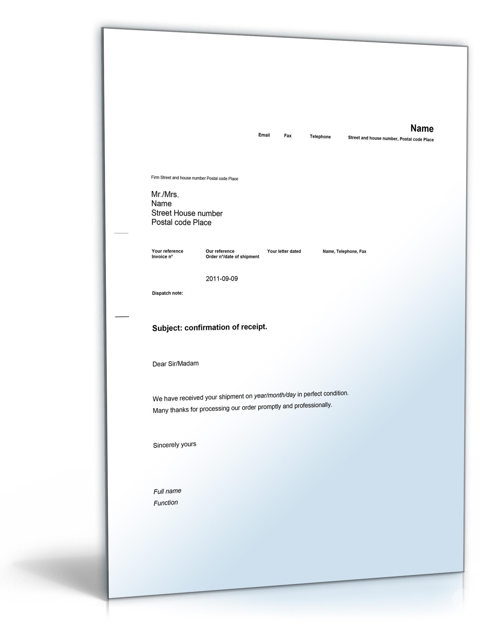Empfangsbestätigung auf Englisch: Confirmation of receipt [Word ...