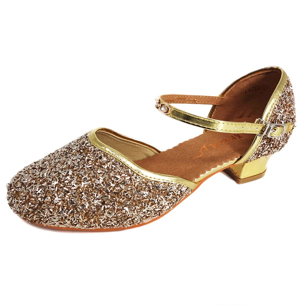 YING LAN Girls Glitter Sequins Pump Shoes Princess Dress Sandals Party Ballet Dance Shoes (Little Kid/Big Kid) Gold 28