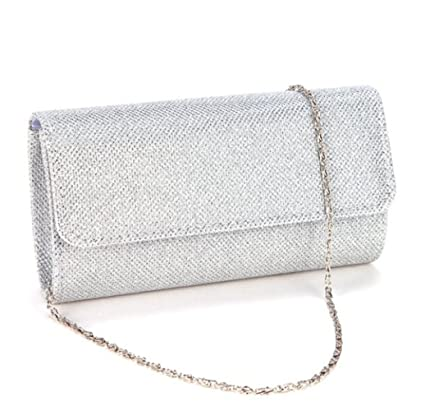 26b762e295 U-Story Womens Evening Wedding Party Small Clutch Bag Prom Shoulder Chain Handbag  Tote (Silver)  Amazon.ca  Luggage   Bags