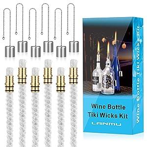 LANMU Wine Bottle Tiki Wicks Kit,Tiki Wicks,Wine Bottle Tiki Torch Kit,Citronella Table Torch,Replacement Tiki Wicks Outdoor Torches Wicks Kit (6 Pack)