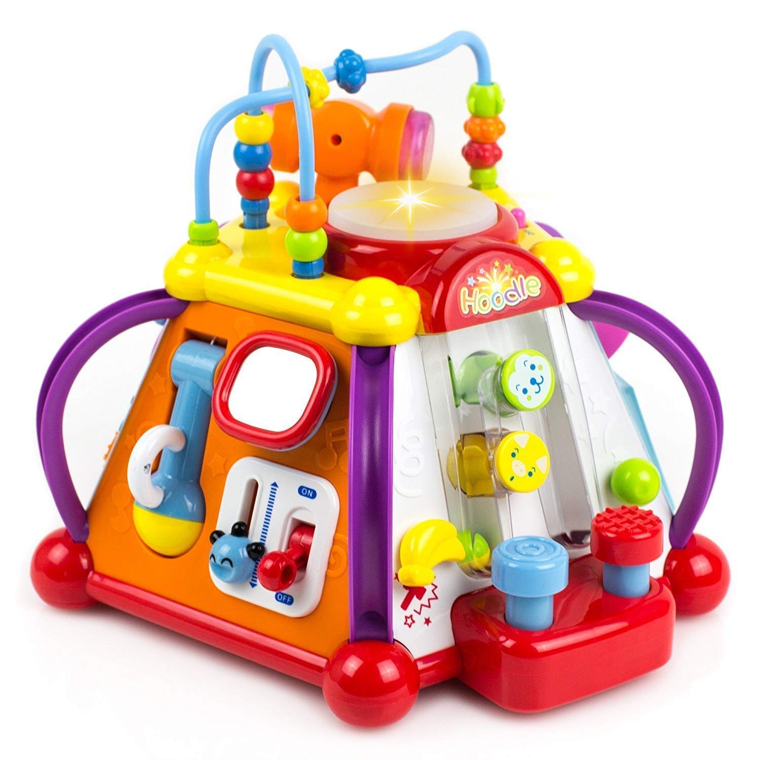 Yiosion Musical Activity Cube Play Center Educational Learning Toy with Music and Sounds for 1 2 3 Year Old Baby Toddler Girls Boys