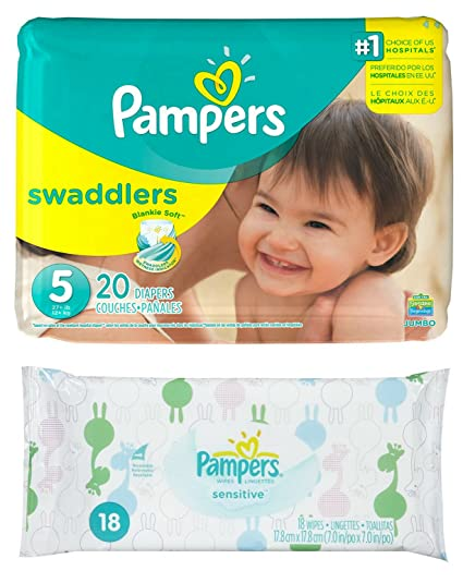 Diaper / Baby Wipe Travel Pack | Includes Pampers Swaddlers Size 5 (20 count) and Sensitive Wipes Resealable Container (18 count)