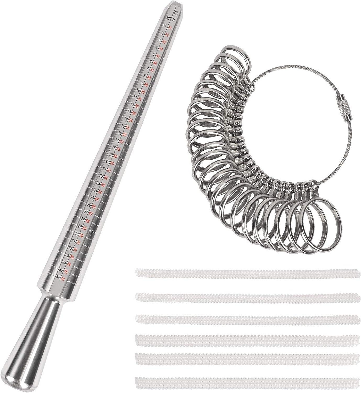 KATOOM Medidor de Anillos 8pcs medición de Metal Dedo Conjunto de Instrumentos con ajustadores de tamaño de Anillo para medir el diámetro del Anillo Kit de Herramientas de joyería Parejas Regalo