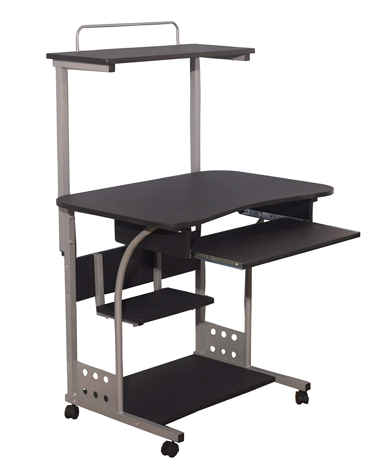 Target Marketing Systems Modern Computer Tower With Shelf and Keyboard Space, 4 Caster Wheels, Black