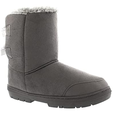 Womens Twin Bow Tall Classic Waterproof Winter Rain Snow Boots - Gray - 5 -  GRE36