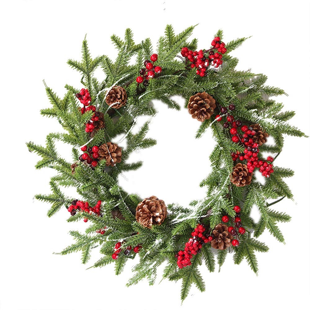 Promisen Christmas Wreath,Merry Christmas Garland Decorations with Red Berries Bells for Christmas Party Decor Front Door Wall,55-60cm Diameter (B)