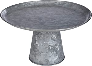 Metal Cake Stand, Rustic Farmhouse Fruit Plate Buffet Stand, Galvanized Serving Tray, Dessert Display Tray, Home Decor, Cake Stand For Wedding, Birthday, Party -12x12x7 Inch - Antique Silver