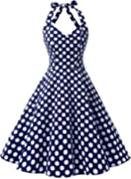 BI.TENCON 1950s Halter Style Vintage Polka Dot Swing Party