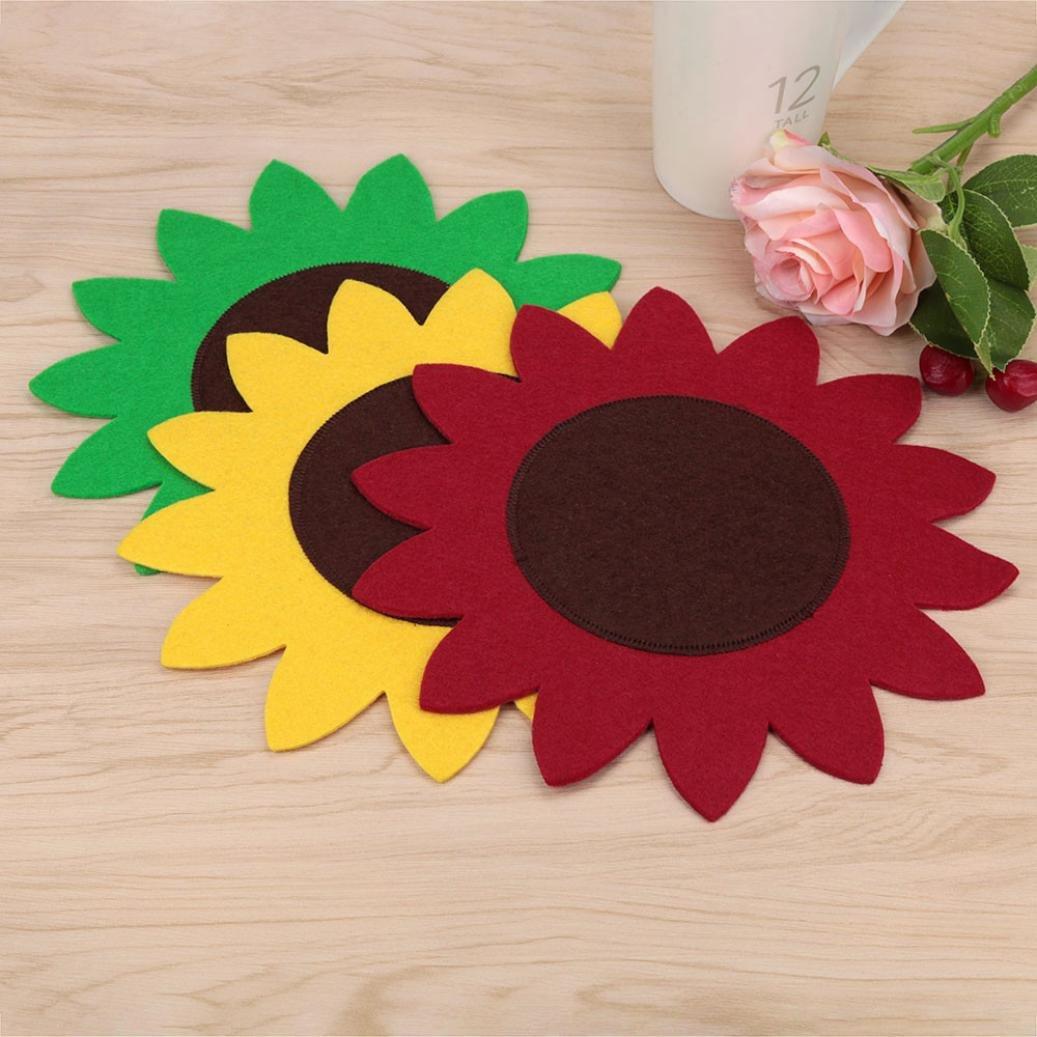 WensLTD 3個入りセットイースターSun Flower WokテーブルウェアマットギフトクリエイティブPresentホームアクセサリー B06XC56CBJ