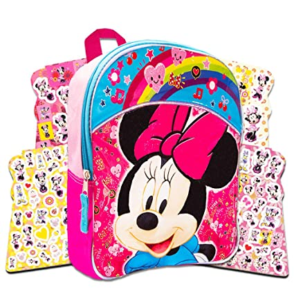 Amazon.com   Disney Toddler Minnie Mouse Preschool Backpack Set - Deluxe 11  Inch Minnie Mouse Mini Backpack with Over 300 Stickers   Kids  Backpacks 7b8a450943