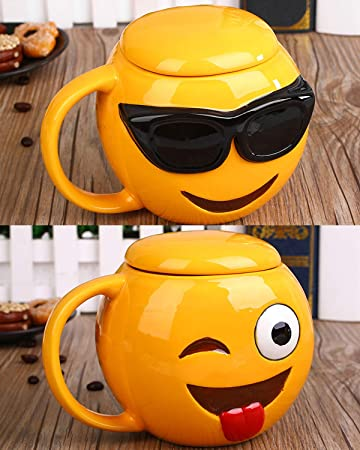 BonZeaL Emoji Mug With Lid Ceramic Coffee Mugs Tea Cups Quirky Birthday Gifts For Girlfriend Boyfriend
