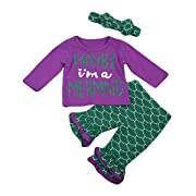 Newborn Baby Girl Maybe I'm a Mermaid Print Long Sleeve Tops Ruffle Pants Outfits Playwear Bowknot Headband (3-6 Months, Purple)