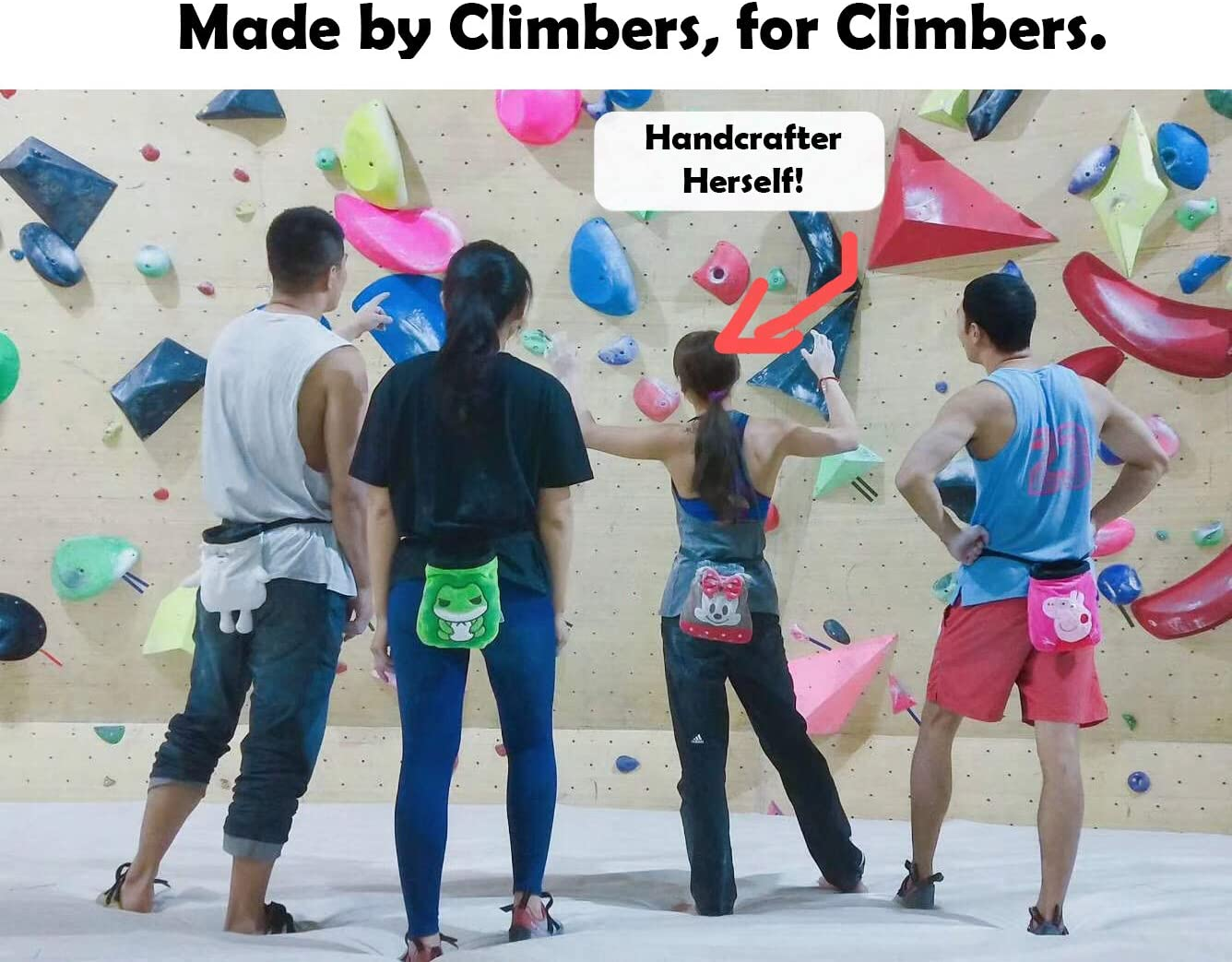 RockPlushies Handcrafted Chalk Bag Drawstring Closure and Adjustable Quick-Clip Belt Rock Climber Gift for Kids /& Adults