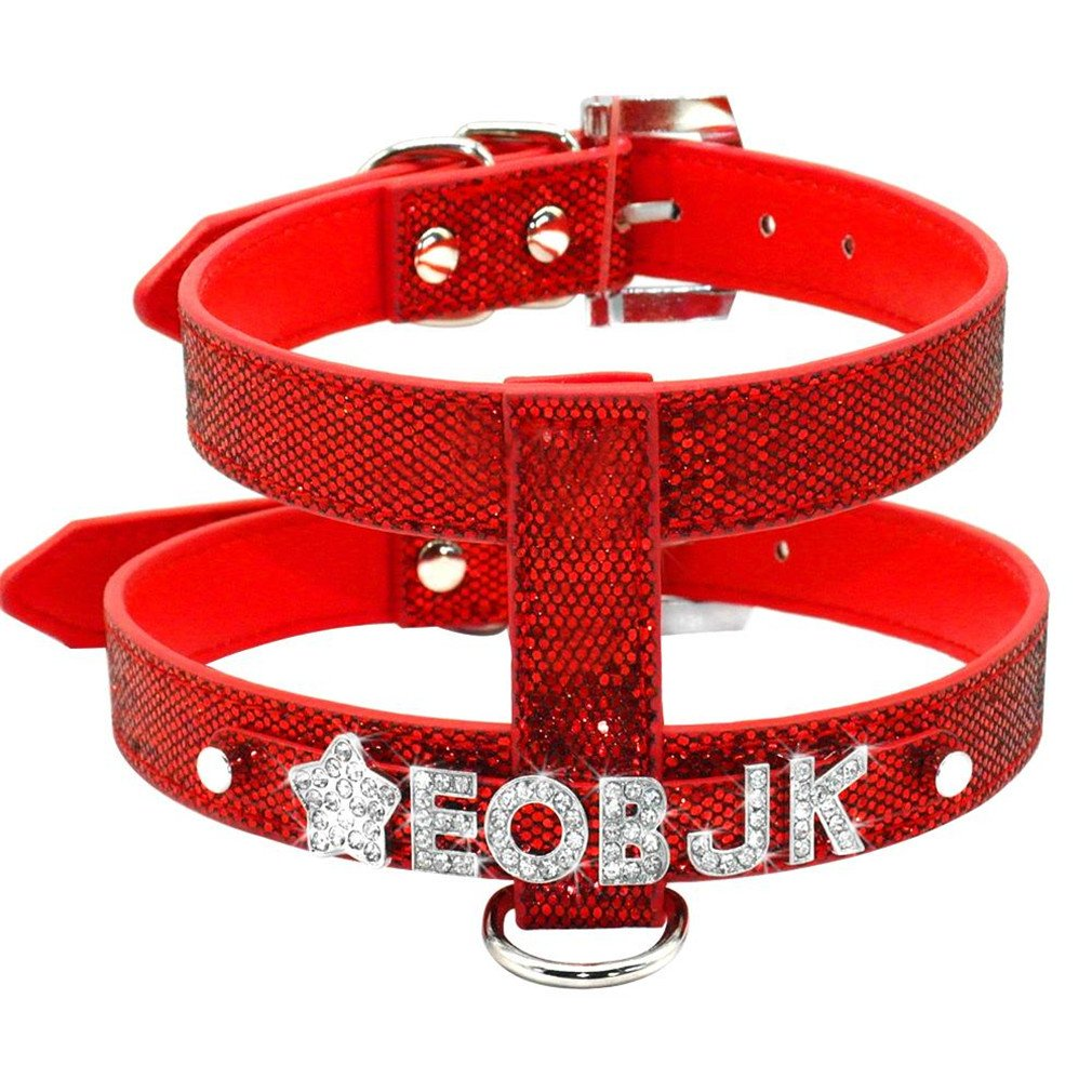 LLOVELYY PU Leather Personalized Rhinestone Pet Puppy Small Dog Harness Customized Free Name Red L