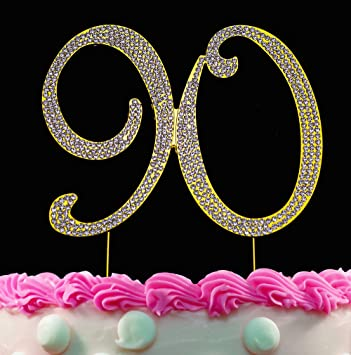 90th Birthday Cake Toppers Gold Topper 90 Bling