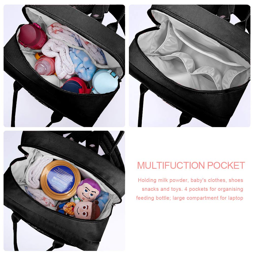 KALIDI Diaper Bag Baby Nappy Changing Bag Backpack Rucksack Tote Bag with Insulated Pocket,Changing Mat,Stroller Hook for Mum and Dad,Black