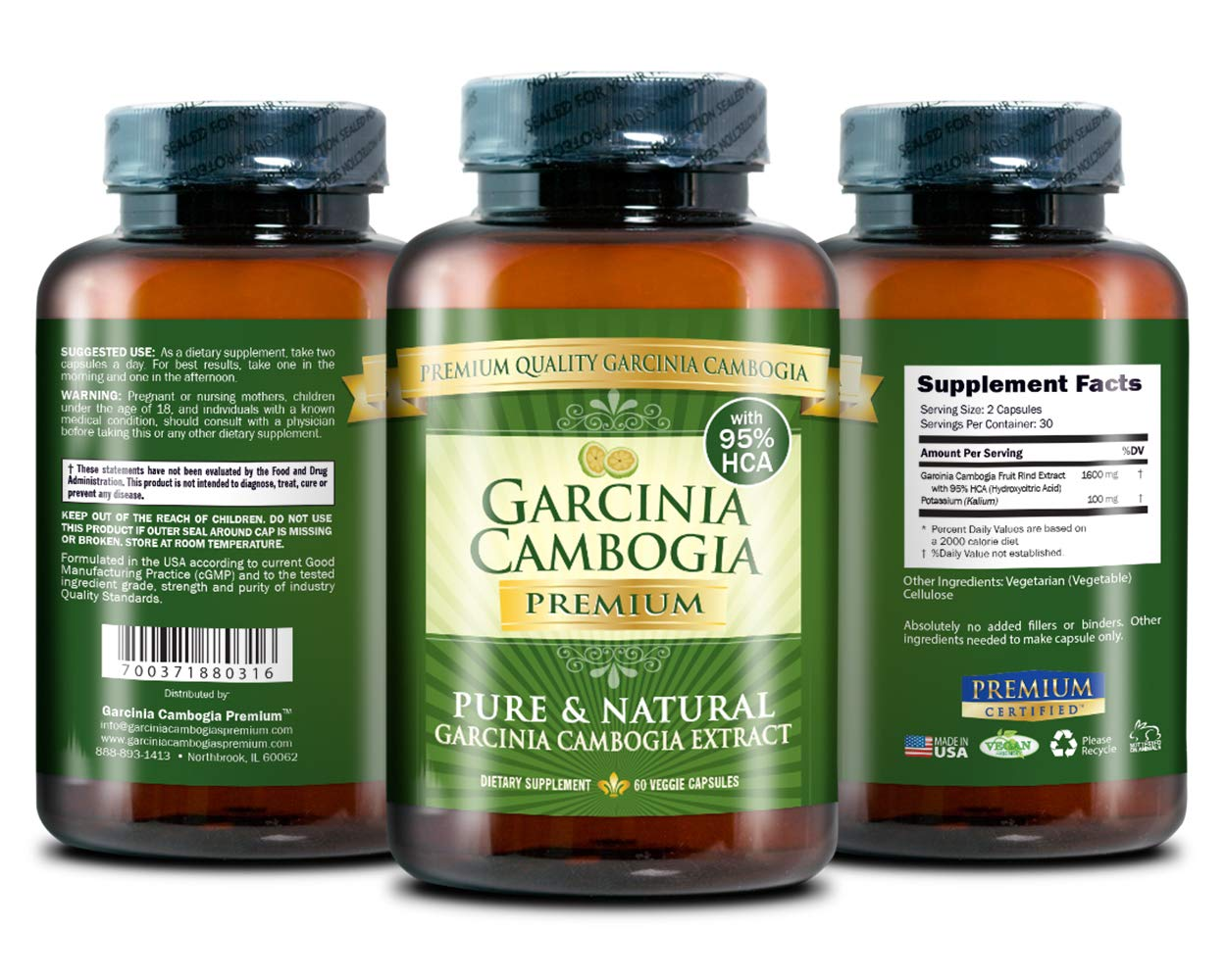 Garcinia Cambogia Premium 95% HCA - Best Natural Weight Loss, Quick Fat Burner and Appetite Suppressant - 180 Vegan Capsules, 3 Months Supply - 100% Money Back Guarantee! by Garcinia Cambogia Premium (Image #2)