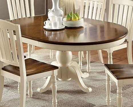 Amazon.com - Harrisburg White/Dark Oak Oval Dining Table by ...