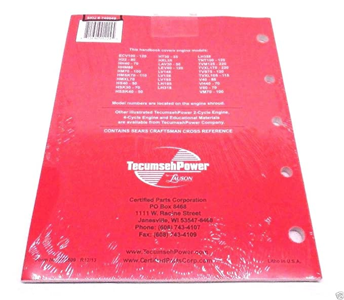 Tecumseh Genuine 740049 Technician S Handbook 4 Cycle For L Head Engines OEM