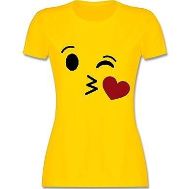 Karneval Fasching Kuss Emoji Karneval Damen T Shirt Rundhals