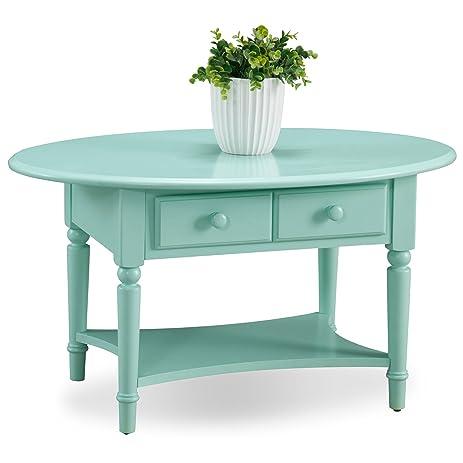 Leick 20044 GN Coastal Oval Coffee Table With Shelf, Kiwi Green