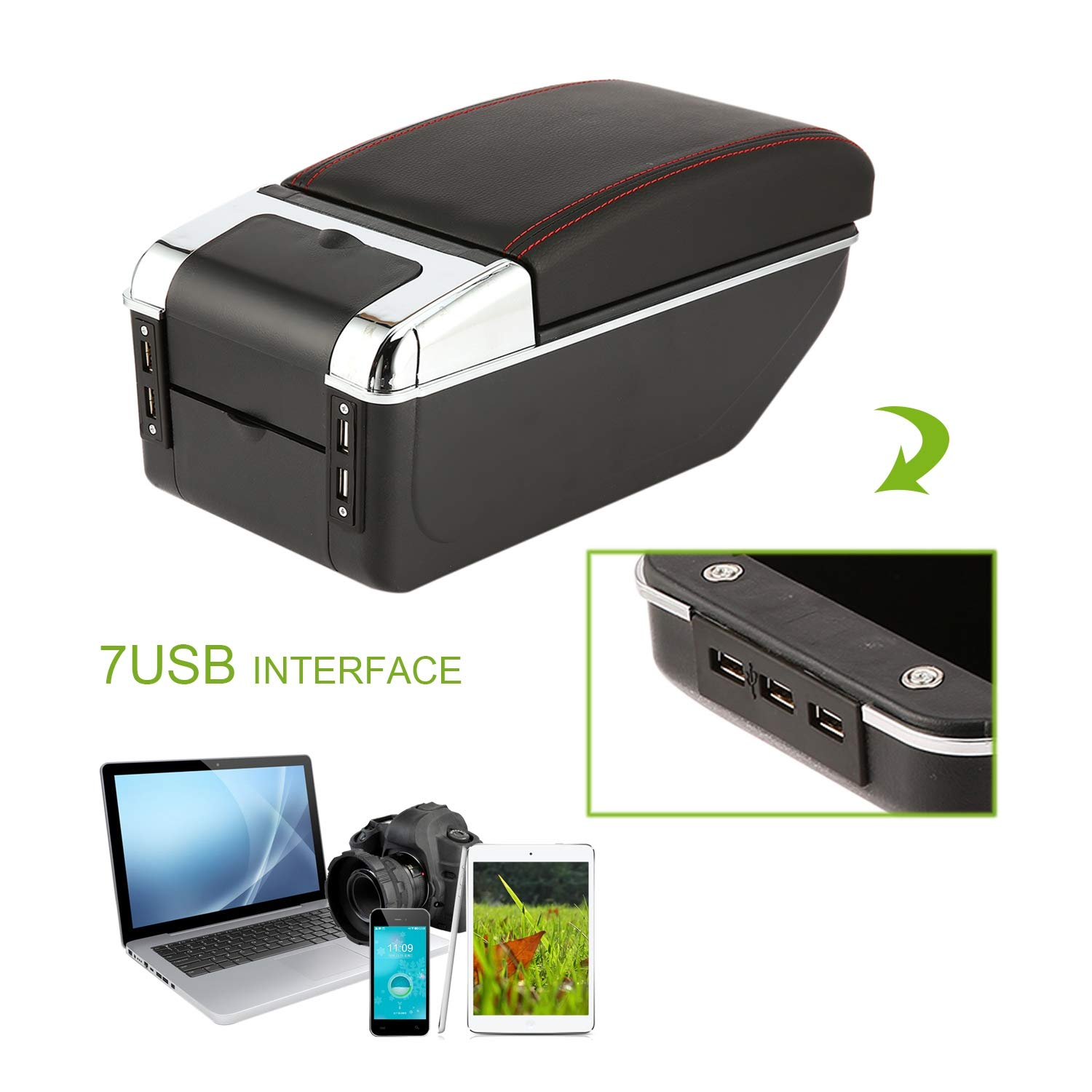 Universal Car Armrest Storage Box with 7 USB Ports Centre Center Console Arm Rest PU Leather Auto Car Styling Tool FairytaleMM