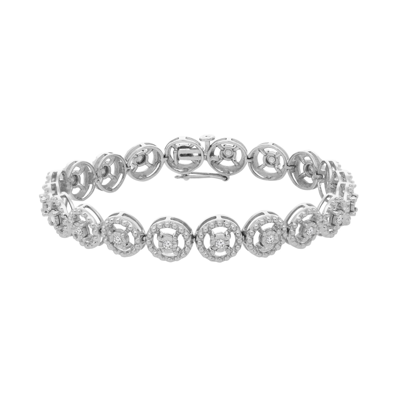 Sterling Silver Rose-Cut Diamond Eternity Wheel Bracelet (0.50 cttw, I-J Color, I3 Clarity)