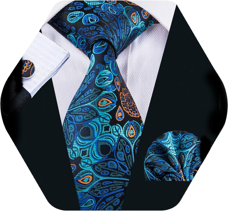 de Hi-Tie Juego de corbata y pa/ñuelo de seda tejida con motivos florales para hombre