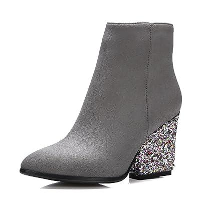 1be92f223cf1 Meotina High Heels Women Ankle Boots Zip Glitter Thick Heel Ladies Boots  Winter (4