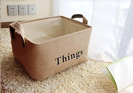 Speedmar - Caja organizadora de Almacenamiento portátil Plegable con Forma de Cubo de Lino, Ideal