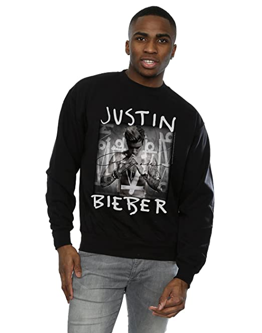Justin Bieber Sudadera - Manga Larga - para Hombre Negro Large: Amazon.es: Ropa y accesorios