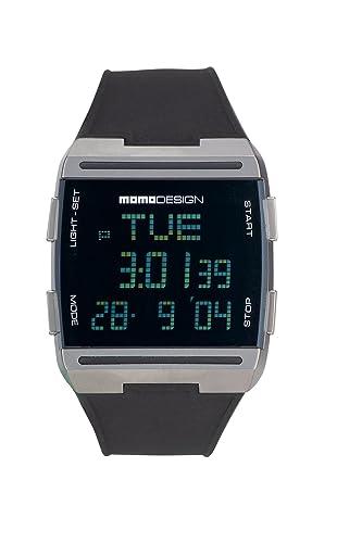 Momodesign 600000550 - Reloj analógico de caballero de cuarzo con correa de goma negra - sumergible a 30 metros: Amazon.es: Relojes