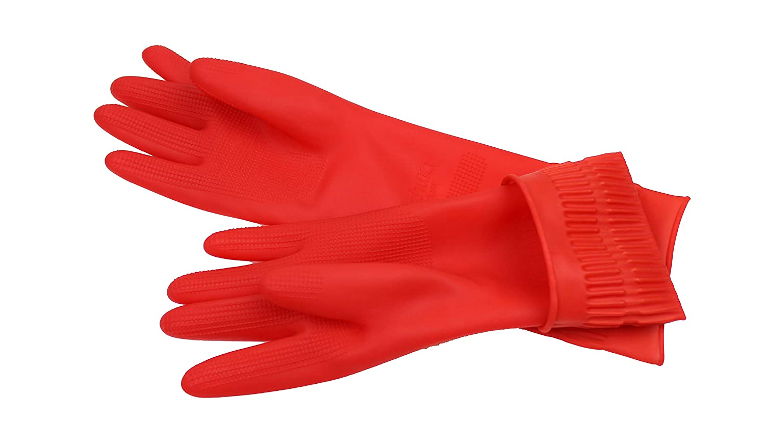 Made in Korea Rubber Cleaning Gloves Kitchen Dishwashing Glove 3-Pair,Waterproof Reuseable Large