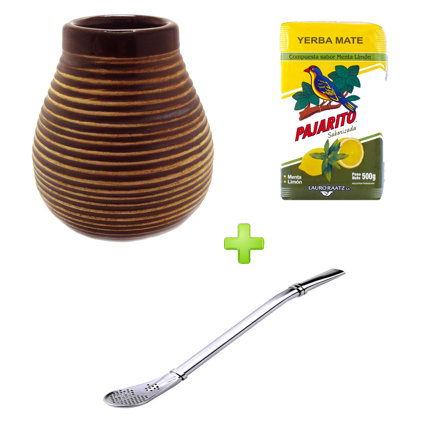 Mein Teeshop Brown Ceramic Mate Cup + Bombilla Stainless Steel Mate Cups + Pajarito Menta Lemon 500g