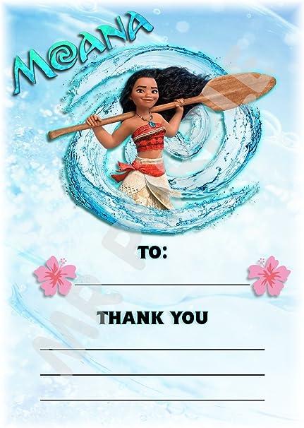 Disney Moana gracias por venir fiesta de cumpleaños tarjetas – SPLASH – diseño – fiesta suministros/accesorios (Pack de 12 A6 tarjetas de agradecimiento) WITHOUT Envelopes: Amazon.es: Oficina y papelería
