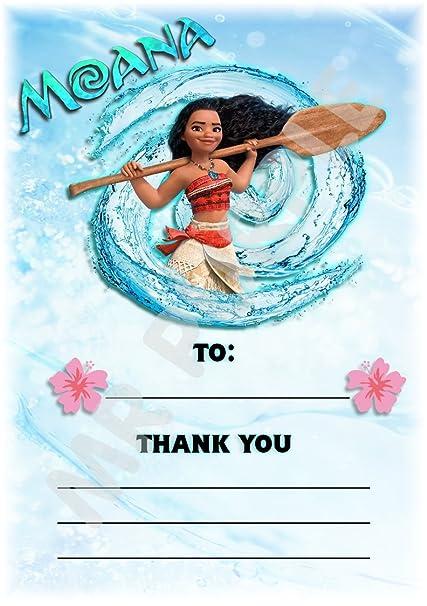 Disney Moana gracias por venir fiesta de cumpleaños tarjetas ...