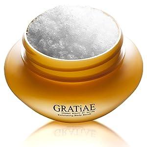 Gratiae Organic Exfoliating Body Scrub Apple, Green Tea & Ginger Exfoliates, Moisturizes Nourishes and protects, for smooth soft skin Helps to reduce Stretch Marks, eczema, Anti Cellulite 14.1 oz