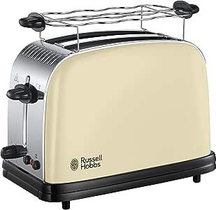 Russell Hobbs Colours Plus Tostadora (2 Ranuras Cortas y Anchas, para 4 Rebanadas), 1100 W, 0 Decibeles, Acero Inoxidable, Crema