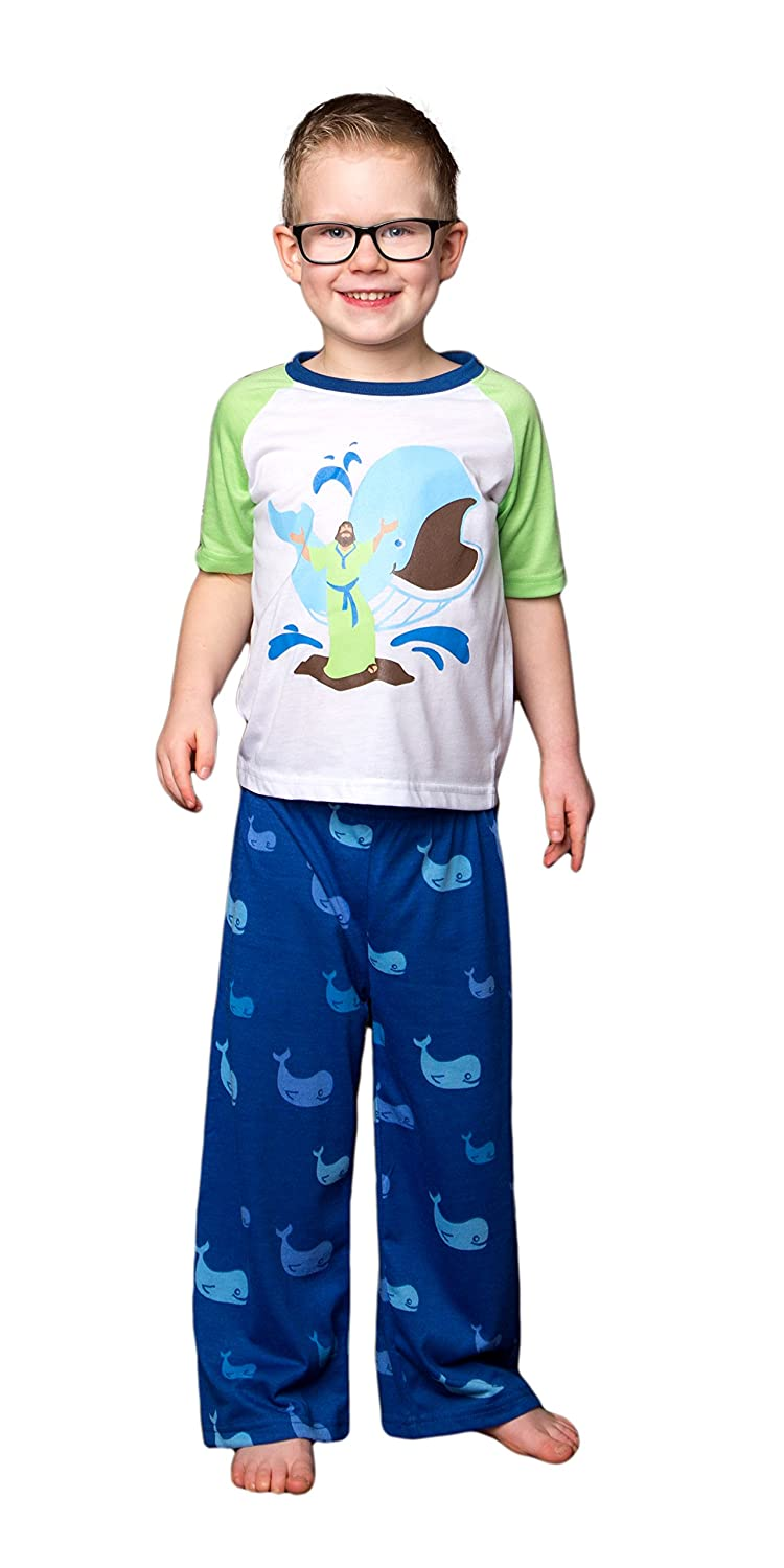 Bible Pajama Set for Boys and Girls 12 Months to 10 Years Bibamas Jonah and The Whale 5//6