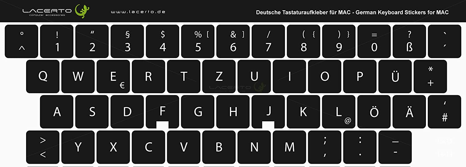 887237e2a9e0 Lacerto German Keyboard Sticker for PC & Laptop, Misc. Sizes, with ...