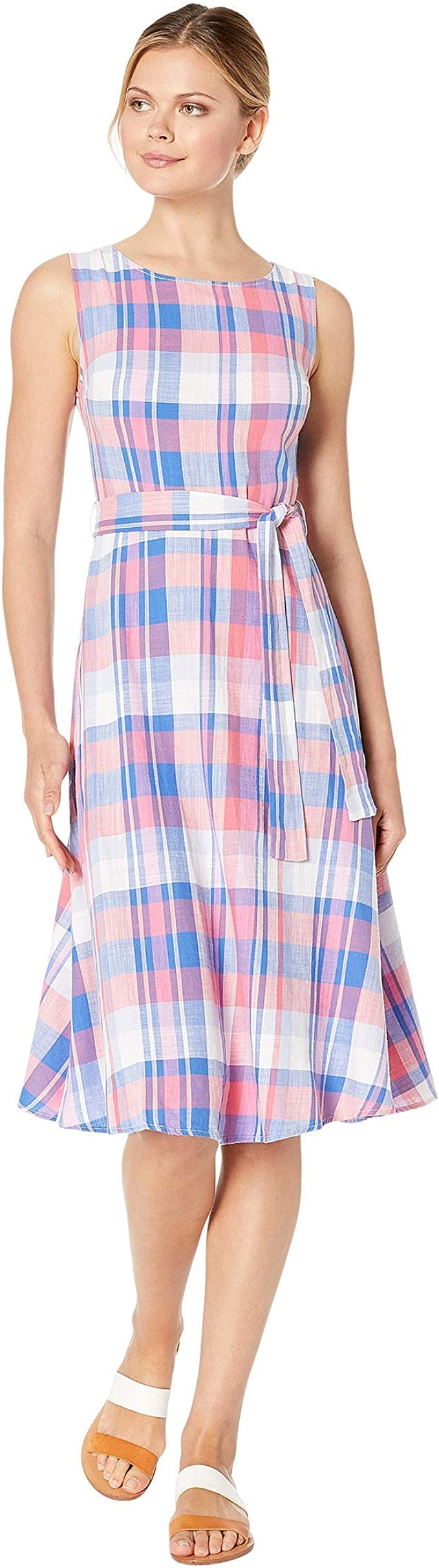 Joules Womens Fiona Sleeveless Woven Dress With Tie Detail in PINK CHECK