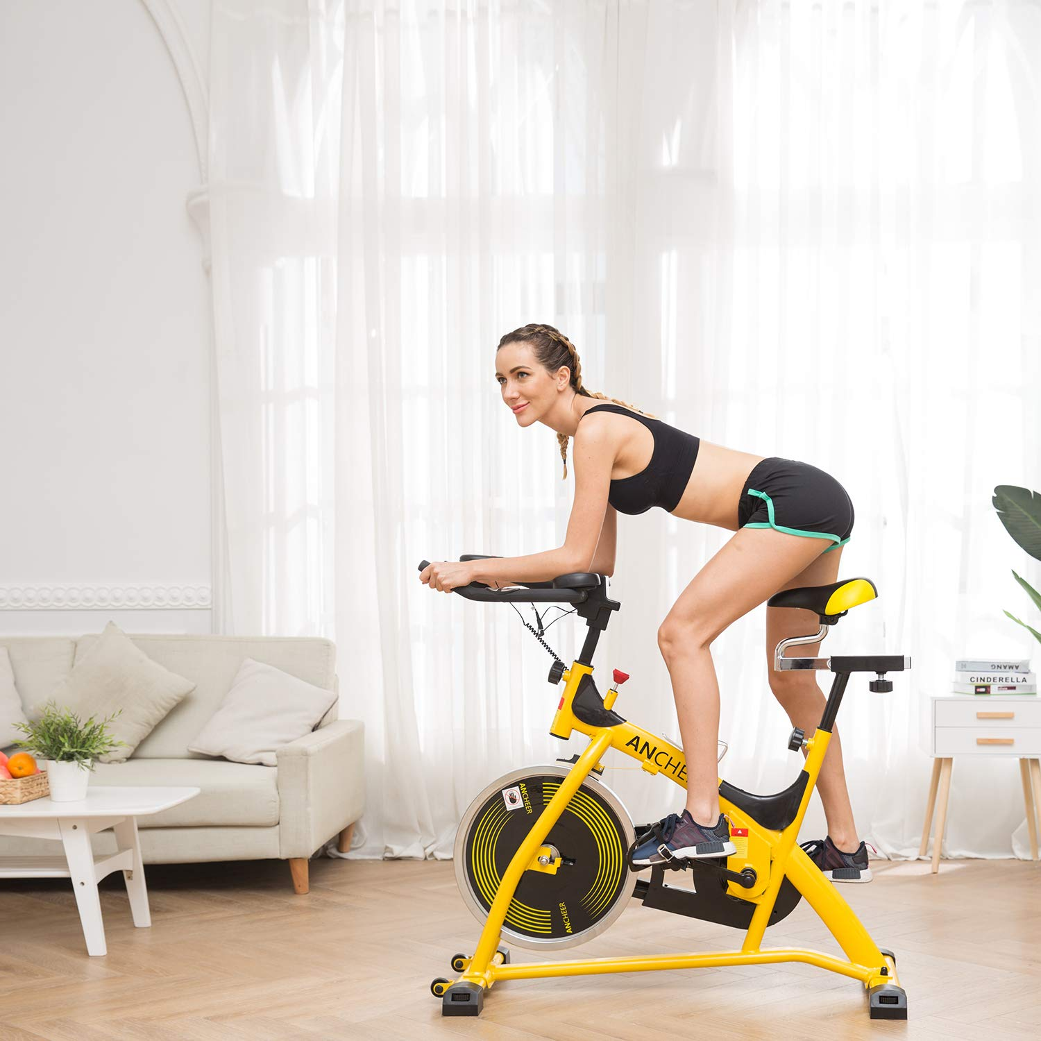 ANCHEER Stationary Bike, 40 LBS Flywheel Belt Drive Indoor Cycling Exercise Bike with Pulse, Elbow Tray (Model: ANCHEER-A5001) (Yellow) by ANCHEER (Image #2)