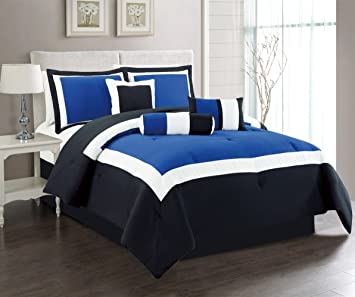 Blue And White Bedding Sets.7 Piece Oversize Navy Blue Black White Color Block Emma Comforter Set 90 X 88 Full Size Bedding